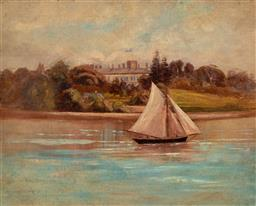 Sale 9161A - Lot 5103 - ARTIST UNKNOWN - Sailing Through & Distant View of possibly Admiralty House, Kirribili 39.5 x 49.5 cm (frame: 56 x 66 x 5 cm)