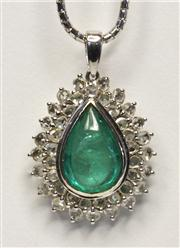 Sale 8036A - Lot 366 - AN EMERALD AND DIAMOND PENDANT NECKLACE; cluster pendant set with a 14.5x 9.5mm pear shape cabochon emerald to a surround of rose an...