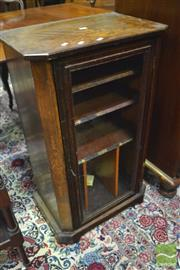 Sale 8359 - Lot 1060 - Victorian Inlaid Walnut Music Cabinet, the single glass panel door enclosing labelled shelves (Key in Office)
