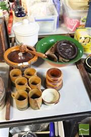 Sale 8478 - Lot 2268 - Mulga Wood Stand with Other Pottery inc Pots, Bowls etc