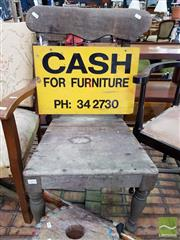 Sale 8469 - Lot 1094 - An antique cedar chair with furniture sign attached