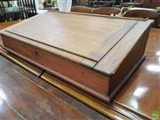 Sale 8634 - Lot 1051 - Late 19th Century Cedar Writing Slope, with hinged top & painted interior