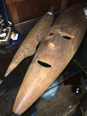 Sale 8659 - Lot 2449 - Timber Tribal Items incl. Mask and Goanna