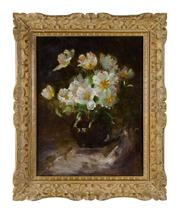 Sale 8828A - Lot 72 - Antique French impressionist still life signed Humbert. Oil on canvas on board in a fine period carved French frame. 65 x 51 cm