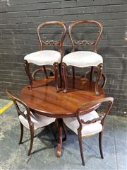 Sale 8976 - Lot 1056 - Victorian Assembled Dining Suite, incl. cedar round supper table and six mahogany balloon back chairs