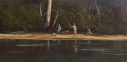 Sale 9109A - Lot 5019 - Fay Joseph (1939 - ) Family Fishing at Woronora River oil on board 29 x 59.4 cm (frame: 54 x 85 x 3 cm) signed lower left