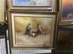 Sale 9123 - Lot 2063 - Elaine Chivers  Turn Him Back, oil on canvas board, frame: 54 x 64 cm, signed lower right