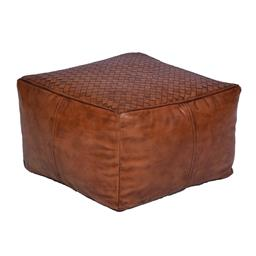 Sale 9140F - Lot 174 - A tan high veg leather square ottoman with weave look top. Dimensions: W45 x D45 x H28 cm