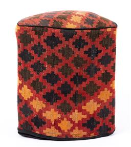 Sale 9191H - Lot 57 - Vintage Kilim footstool of triangular form in brown, blue, red and yellow, height 51cm
