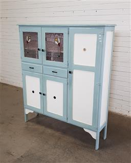 Sale 9146 - Lot 1003 - Painted timber kitchen cabinet with 2 leadlight doors (h160 x w140 x d33cm)