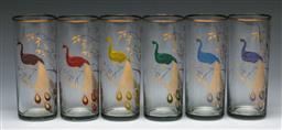 Sale 9168 - Lot 86 - A set of six gilt painted peacock themed glasses (H 14cm)