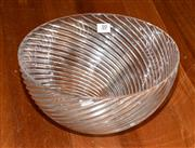 Sale 8098A - Lot 10 - A large art glass lead crystal bowl with swirled rib decoration, signed to base