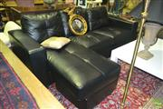 Sale 8227 - Lot 1022 - Black Leather 3-Seater Sofa with Ottoman