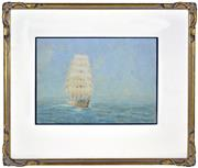 Sale 8394 - Lot 598 - Frederick Elliott (1864 - 1949) - Tall Ship at Sea 26.5 x 37.5cm