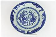 Sale 8445 - Lot 60 - Chinese Blue & White Dragon & Pheasant Charger with Character Marks