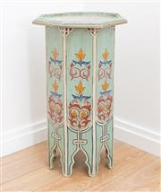 Sale 8471H - Lot 51 - A Moroccan style octagonal occasional table in green, painted with floral geometric design, H 65 x D 37cm
