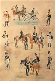 Sale 8665A - Lot 5105 - Artist Unknown (C19th) - An Early 19th century Royal Guards Vignette 52 x 35cm