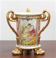 Sale 8774A - Lot 128 - A Plaue three handled footed vase printed with scenes after boucher raised on three gilt paw feet, H x 20cm