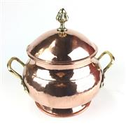 Sale 8872C - Lot 7 - Circular French Copper Pot with Brass Handles and Lid with Finial