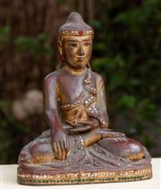 Sale 8882H - Lot 32 - A Burmese carved and gilt figure of Buddha in mudra, Height 22cm