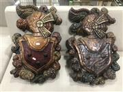 Sale 9059 - Lot 1020 - A pair of carved timber coat of arms (H: 58 x W: 37cm)