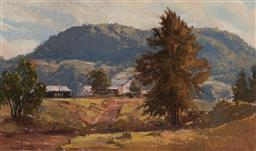 Sale 9150 - Lot 587 - ROBERT SIMPSON (1955 - ) - Farmhouses in Kangaroo Valley, 1978 37 x 62 cm (frame: 58 x 84 x 5 cm)