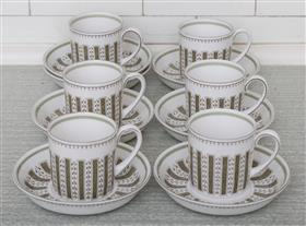 Sale 9195H - Lot 60 - A Susie Cooper Persia pattern set of teacups and saucers for six persons
