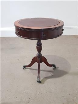 Sale 9255 - Lot 1259 - Timber drum table with 2 drawers (h:
