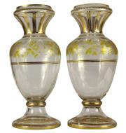 Sale 8040 - Lot 82 - Continental Etched Glass Pair of Vases