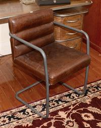 Sale 8171A - Lot 31 - A steel framed deep brown leather high back chair, H 53, W 55, D 59cm