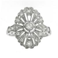 Sale 8221A - Lot 82 - 18ct White Gold Deco Style Diamond Ring; set with round brilliant cut diamonds totalling estimated 0.41ct, Size M