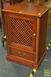 Sale 8312 - Lot 1025 - Pine Single Door Hatchwork Cabinet