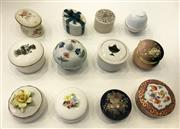 Sale 8436A - Lot 61 - A group of mainly English and Continental lidded china trinket boxes including Mintons, Royal Doulton and Ginori.