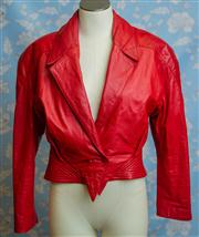 Sale 8577 - Lot 92 - A vintage Sandra Layt Sydney soft red leather jacket, size 12, Condition: Excellent