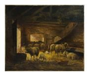 Sale 8586A - Lot 68 - Clement Quinton, French, 1851 - 1920 - Sheep in a Barn 55 x 65 cm