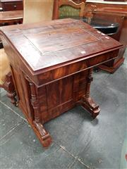 Sale 8814 - Lot 1005 - 19th Century Davenport Desk in Exotic Fruitwood, the hinged top with central panel & crossbanded veneer, with stationery drawer & pa...