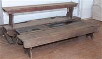 Sale 8934H - Lot 6 - Four weathered cedar bench seats in various lengths The lengths of the bench seats are: 2.2m, 2.3m, 2.1m and 2.9m All are appr...