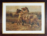 Sale 9033 - Lot 2036 - An Early Chromolithograph Depicting Young Boy Taming the Horses and Distant View of a Hunt Scene, antique frame (77.5 x 98.5cm)