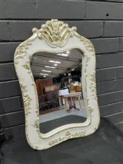 Sale 9051 - Lot 1015 - Shabby Chic White and Gold French Style Mirror (H: 60 x W: 40cm)