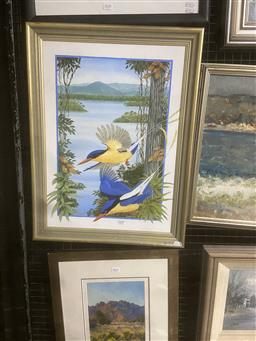 Sale 9123 - Lot 2030 - Clarrie Cox  Kingfishers, oil on board, frame: 65 x 49 cm, signed lower right