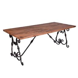 Sale 9140F - Lot 176 - A large fruitwood dining table with sturdy iron base. Dimensions: W200 x D100 x H68 cm