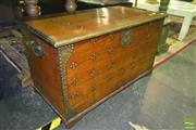 Sale 8227 - Lot 1023 - Fitted Timber Trunk with Metal Mounts