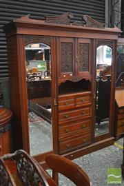 Sale 8282 - Lot 1038 - Late Victorian Walnut Wardrobe, with two mirrored doors, two carved panel doors, open shelf & five drawers