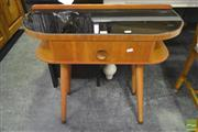 Sale 8284 - Lot 1068 - Single Drawer Telephone Table w Black Glass Top