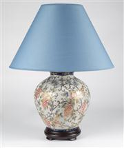 Sale 8350L - Lot 41 - A pair of Satsuma style hand painted polychrome urn lamps, with blue shades on timber base, total H 58cm, RRP $ 1240