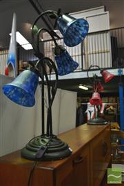 Sale 8398 - Lot 1024 - Pair of Impressive Blue & Red Table Lamps