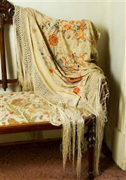 Sale 8418A - Lot 9 - An ivory silk embroidered piano shawl, A/F