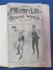 Sale 8419A - Lot 67 - Boxing World 1912 - a box containing bound volumes of Boxing World 1912 and 1913, and bound Boxing 1916-1917, 1922-1923 & 1940 (Janu...