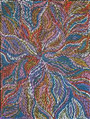 Sale 8526 - Lot 578 - Jeannie Petyarre (c1956 - ) - Bush Yam Leaves 130 x 98cm