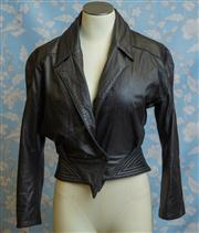 Sale 8577 - Lot 93 - A vintage Sandra Layt Sydney soft black leather jacket, size 10, Condition: Excellent